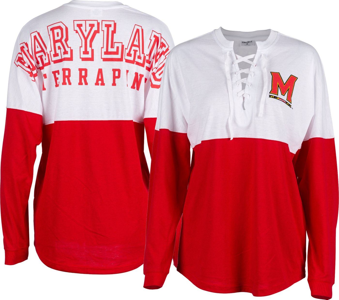 ZooZatz Women's Maryland Terrapins Red Clearblock Long Sleeve T-Shirt