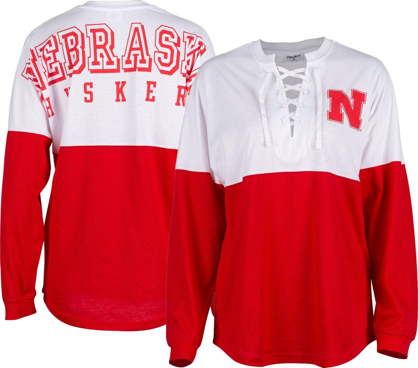ZooZatz Women's Nebraska Cornhuskers Scarlet Clearblock Long Sleeve T-Shirt