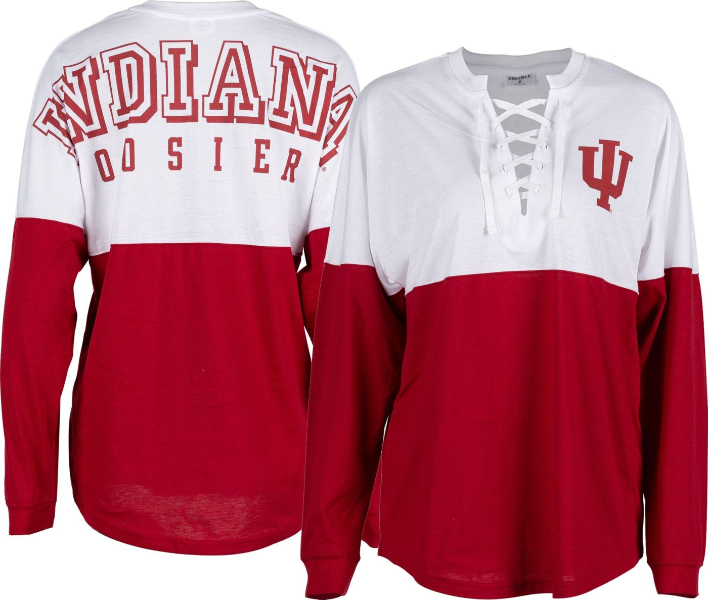 ZooZatz Women's Indiana Hoosiers Crimson Clearblock Long Sleeve T-Shirt