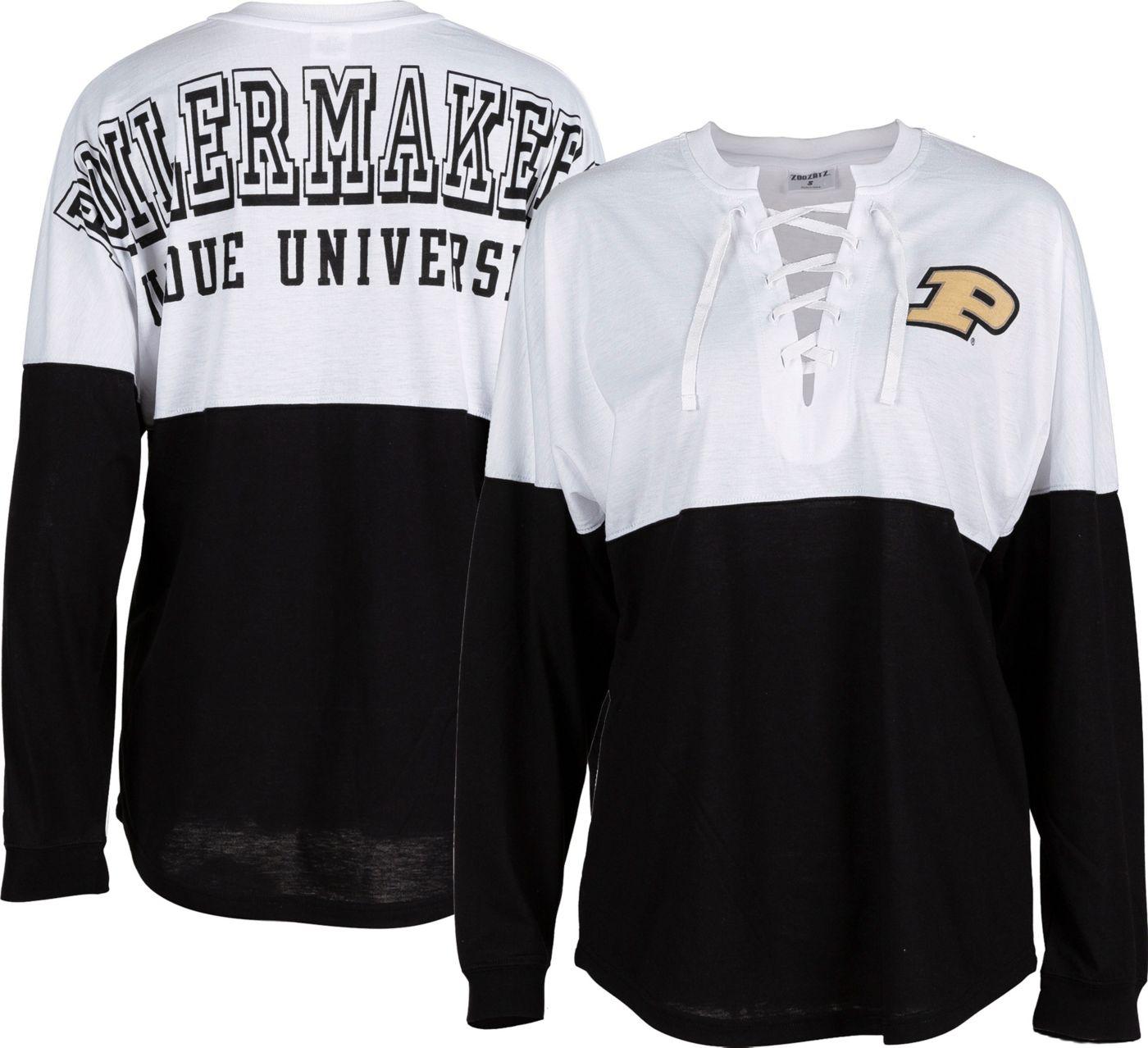 ZooZatz Women's Purdue Boilermakers Clearblock Long Sleeve Black T-Shirt