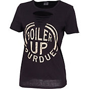ZooZatz Women's Purdue Boilermakers Revival Ripped Black T-Shirt