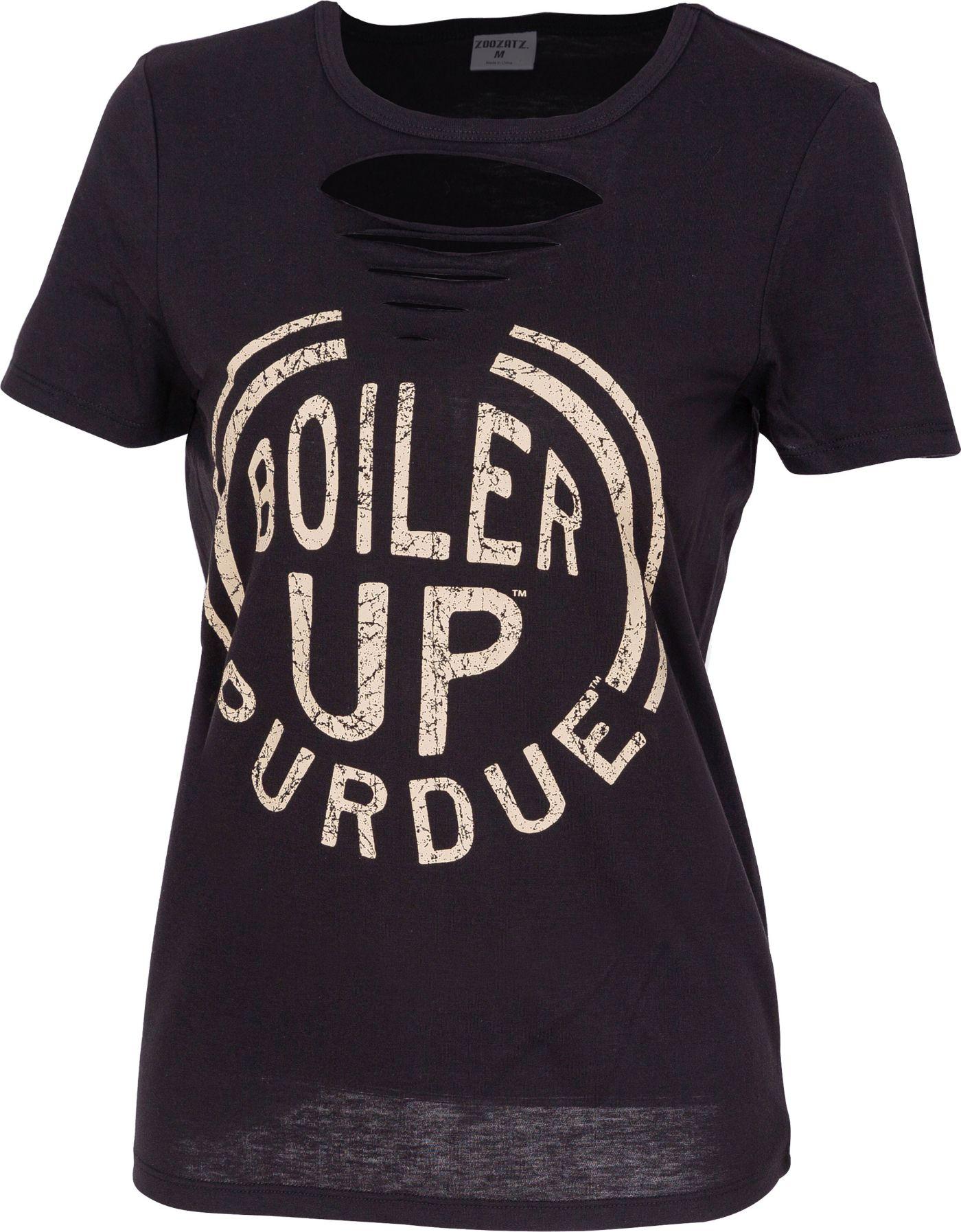ZooZatz Women's Purdue Boilermakers Revival Ripped Black T-Shirt