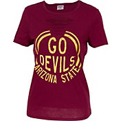 ZooZatz Women's Arizona State Sun Devils Maroon Revival Ripped T-Shirt