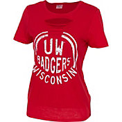 ZooZatz Women's Wisconsin Badgers Red Revival Ripped T-Shirt