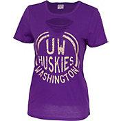 ZooZatz Women's Washington Huskies Purple Revival Ripped T-Shirt