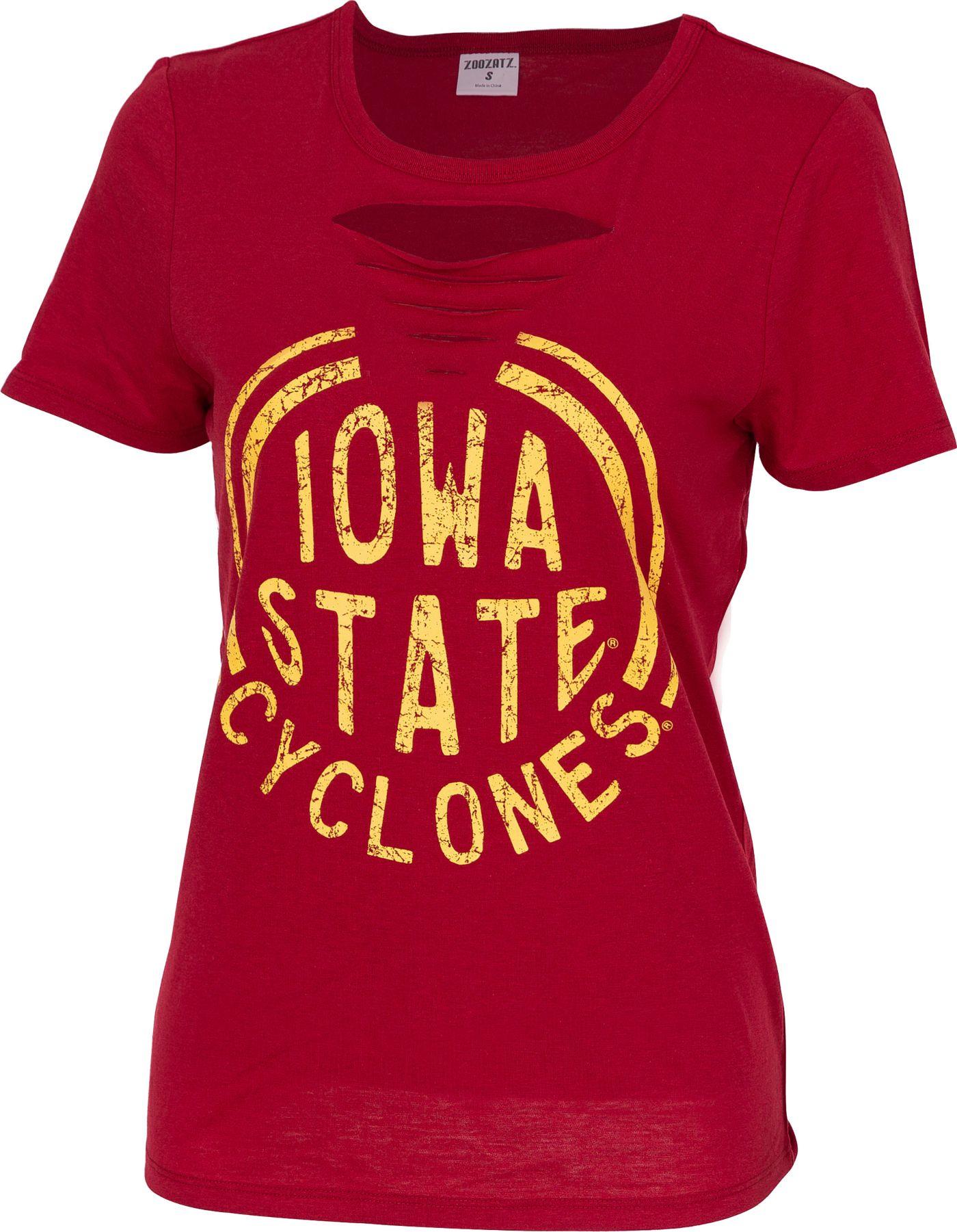 ZooZatz Women's Iowa State Cyclones Cardinal Revival Ripped T-Shirt
