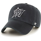 '47 Men's Miami Marlins Black Clean Up Adjustable Hat
