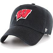 '47 Men's Wisconsin Badgers Clean Up Adjustable Black Hat