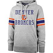 '47 Men's Denver Broncos Double Sleeve-Stripe Grey Hoodie