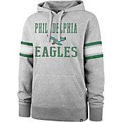 '47 Men's Philadelphia Eagles Double Sleeve-Stripe Grey Hoodie