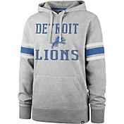 '47 Men's Detroit Lions Double Sleeve-Stripe Grey Hoodie