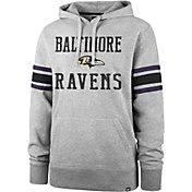 '47 Men's Baltimore Ravens Double Sleeve-Stripe Grey Hoodie