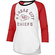'47 Women's Kansas City Chiefs White Wash Raglan Three-Quarter Sleeve T-Shirt