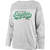 '47 Women's Philadelphia Eagles Script Legacy Whiteout Crew Sweatshirt