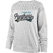'47 Women's Carolina Panthers Script Legacy Whiteout Crew Sweatshirt