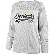 '47 Women's Pittsburgh Steelers Script Legacy Whiteout Crew Sweatshirt