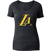 5th & Ocean Women's Los Angeles Lakers Wordmark Black V-Neck T-Shirt