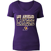 5th & Ocean Women's Los Angeles Lakers Wordmark Purple V-Neck T-Shirt