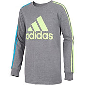 adidas Boys' Badge Of Sport 3-Stripes Long Sleeve Shirt