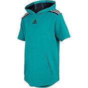 adidas Boys' 3-Stripe Short Sleeve Hoodie