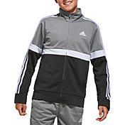 adidas Boys' Zip Front Split Logo Tricot Jacket
