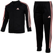 adidas Little Girls' Zip Front Classic Tricot Jacket and Jogger Pants Set