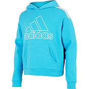 adidas Girls' Classic Stripe Cotton Fleece Pullover Hoodie