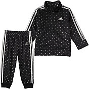 adidas Little Girls' Dot Tricot Jacket and Pants Track Set