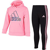 adidas Little Girls' Fleece Pullover and Tights Set