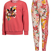 adidas Girls' Floral Crewneck Sweatshirt and Leggings 2-Piece Set