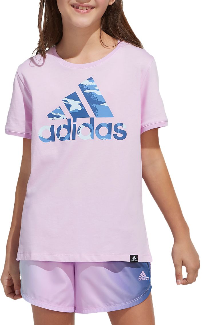 adidas Girl's V-Neck Poly Short Sleeve T-Shirt, Girls', Medium, Clear Lilac/Camo