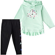 adidas Little Girls' Long Sleeve Hooded Top and Graphic Tights Set