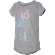 adidas Girls' Too Legit To Quit Graphic Scoop Neck T-Shirt