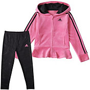 adidas Toddler Girls' Velour Hooded Jacket and Marble Tights Set
