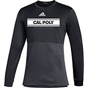 adidas Men's Cal Poly Mustangs Team Issue Crew Pullover Black Shirt