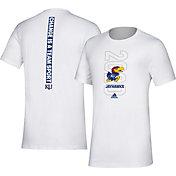 adidas Men's Kansas Jayhawks 'Change is a Team Sport' Bench White T-Shirt