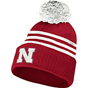 adidas Men's Nebraska Cornhuskers Scarlet 3-Stripe Cuffed Pom Knit Beanie