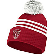 adidas Men's NC State Wolfpack Red 3-Stripe Cuffed Pom Knit Beanie