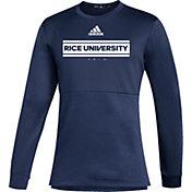 adidas Men's Rice Owls Blue Team Issue Crew Pullover Shirt