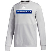 adidas Men's Tulsa Golden Hurricane Grey  Team Issue Crew Pullover Shirt