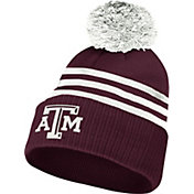 adidas Men's Texas A&M Aggies Maroon 3-Stripe Cuffed Pom Knit Beanie