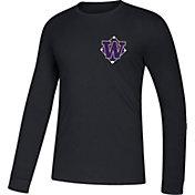 adidas Men's Washington Huskies Diamond Days Long Sleeve Black T-Shirt