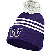adidas Men's Washington Huskies Purple 3-Stripe Cuffed Pom Knit Beanie