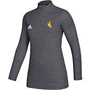 adidas Women's Wyoming Cowboys Grey Game Mode Sideline Quarter-Zip Shirt