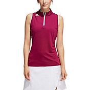 adidas Women's Engineered Gradient Quarter-Zip Sleeveless Golf Polo