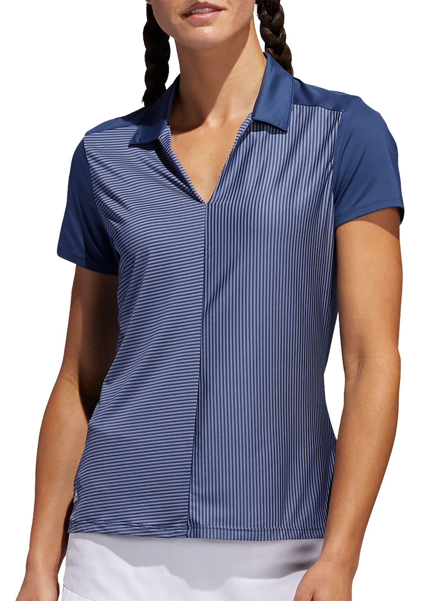 adidas Women's Striped Short Sleeve Golf Polo