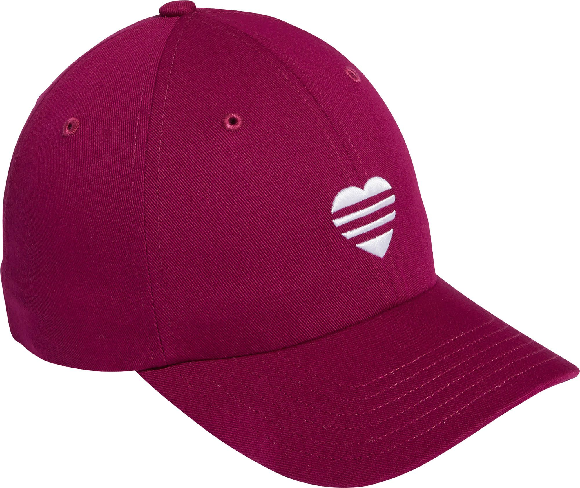adidas Women's 2020 3 Stripe Heart Golf Hat, Berry