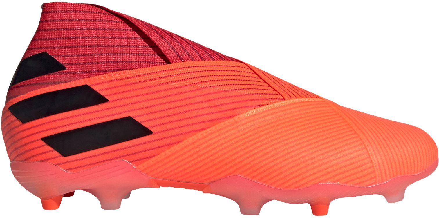 adidas Kids' Nemeziz 19+ FG Soccer Cleats, Boys', Coral/Black