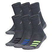 adidas Youth Cushioned Angle Stripe Crew Socks – 6 Pack