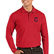 Antigua Men's Cleveland Indians Red Tribute Long Sleeve Performance Polo